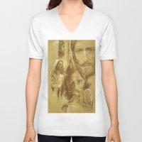 jesus V-neck T-shirts featuring Jesus by Bryan Dechter