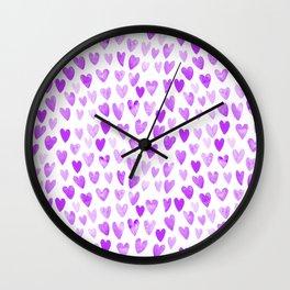 Watercolor Hearts purple pantone love pattern design minimal modern valentines day Wall Clock