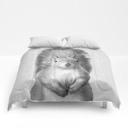Squirrel - Black & White Comforters