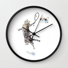 Cat Playing Tennis Wall Clock