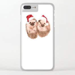 Christmas Twin Hedgehog Clear iPhone Case
