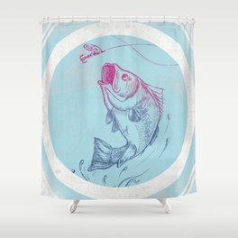 Bass jumping In Blue Circle3 Shower Curtain