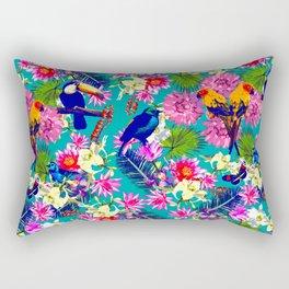 Floral Amazon Blue Rectangular Pillow