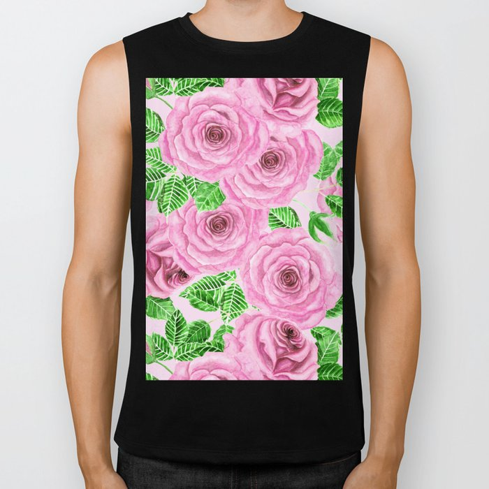 Pink watercolor roses with leaves and buds pattern Biker Tank