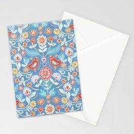 Happy Folk Summer Floral on Light Blue Stationery Cards