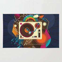 Goodtime Party Music Retro Rainbow Turntable Graphic Rug
