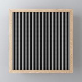 Black and White French Fleur de Lis in Mattress Ticking Stripe Framed Mini Art Print