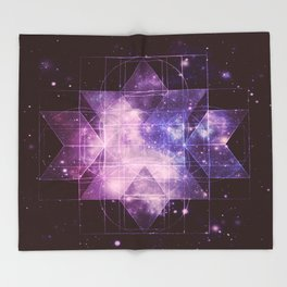 Galaxy Sacred Geometry: Purple Rhombic Hexecontahedron Throw Blanket