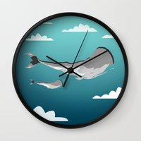 the whale Wall Clocks featuring Whale by mark ashkenazi