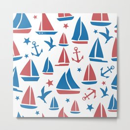 Sea Boats Cute Pattern Metal Print