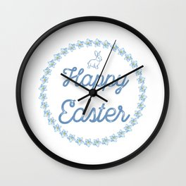 Happy Easter With Blue Bunny And Wreath Wall Clock