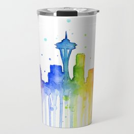 Seattle Skyline Rainbow Watercolor Travel Mug