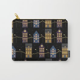 A row of illuminated houses pattern design Carry-All Pouch
