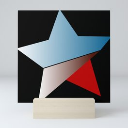 Ombre blue red star on black background Mini Art Print
