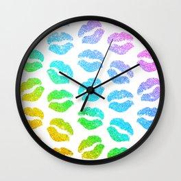 Rainbow Glitter Lips Wall Clock