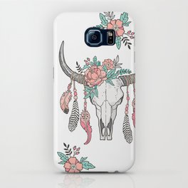 Boho Longhorn Cow Skull with Feathers and Peach Flowers iPhone Case