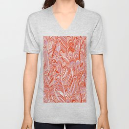 Abstract red coral lilac hand painted bohemian feathers pattern Unisex V-Neck