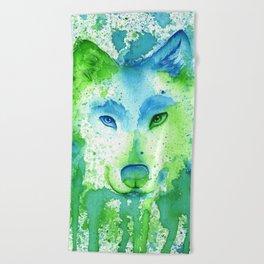 Blue Wolf Beach Towel