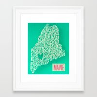 maine Framed Art Prints featuring MAINE by Luck Be The Lulu
