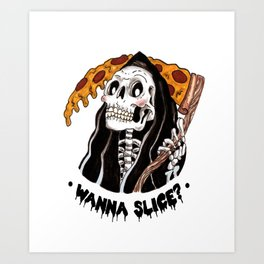 Grim Pizza Art Print