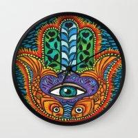 hamsa Wall Clocks featuring Hamsa  by Fortissimo6