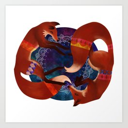 Space Foxes Art Print
