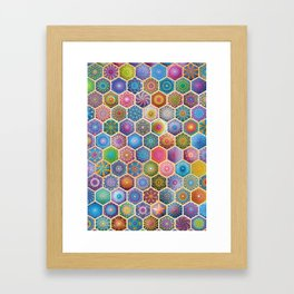 Rainbow honeycombs Framed Art Print