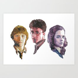 Ron, Harry & Hermione Art Print