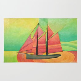 Cubist Abstract Sailing Boat Rug
