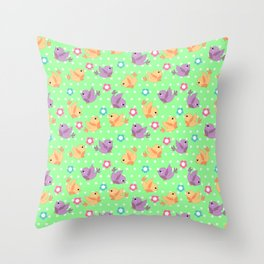 Freely Birds Flying - Fly Away Version 2 - Chartreuse Color Throw Pillow