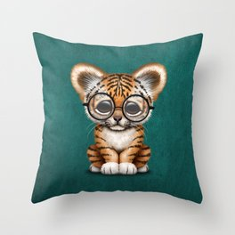 Cute Baby Tiger Cub Wearing Eye Glasses on Teal Blue Throw Pillow