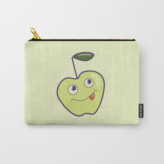 Smiling Green Cartoon Apple Carry-All Pouch