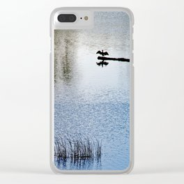 Sunbathing cormorant Clear iPhone Case
