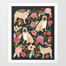 Pugs of spring floral pug dog cute pattern print florals flower garden nature dog park dog person  Art Print