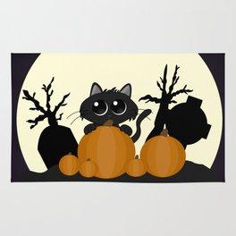 Halloween Black Cat with Pumpkins in a Graveyard Rug