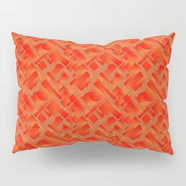 Stylish design with interlaced circles and bronze rectangles of stripes. Pillow Sham