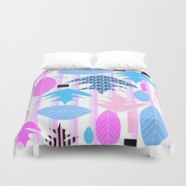 Leaf mix in pink and blue Duvet Cover