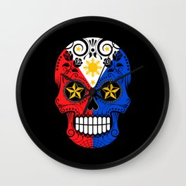 Sugar Skull with Roses and Flag of Philippines Wall Clock