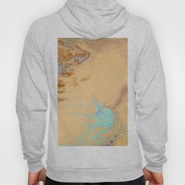 Fluid Art Acrylic Painting, Pour 11, Tan, Brown & Light Blue Blended Colors Hoody