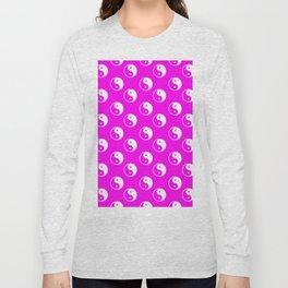 Yin & Yang (White & Magenta Pattern) Long Sleeve T-shirt