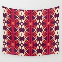 burgundy Wall Tapestries featuring burgundy edge by design lunatic