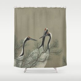 Japanese Red Crowned Crane Shower Curtain