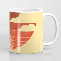 beach Mugs featuring Go West by Picomodi