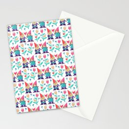 Gnome Love Pattern Stationery Cards