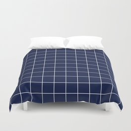 Navy Blue Grid Lines Minimal Duvet Cover