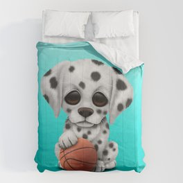 Dalmatian Puppy Dog Playing With Basketball Comforters
