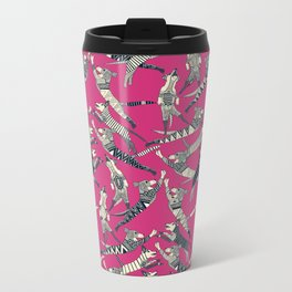 dog party indigo pink Metal Travel Mug