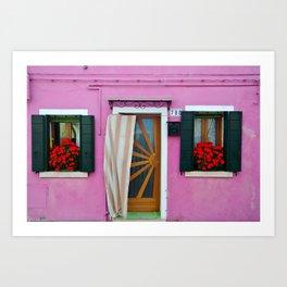 Pink Burano Door Art Print