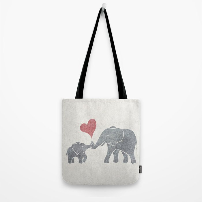 Elephant Hugs with Heart in Muted Gray and Red Tote Bag