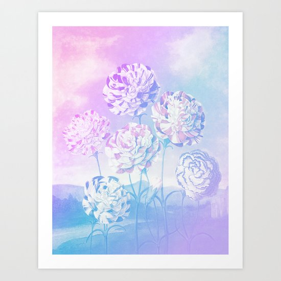 Colorful Pastel Flowers Art Print